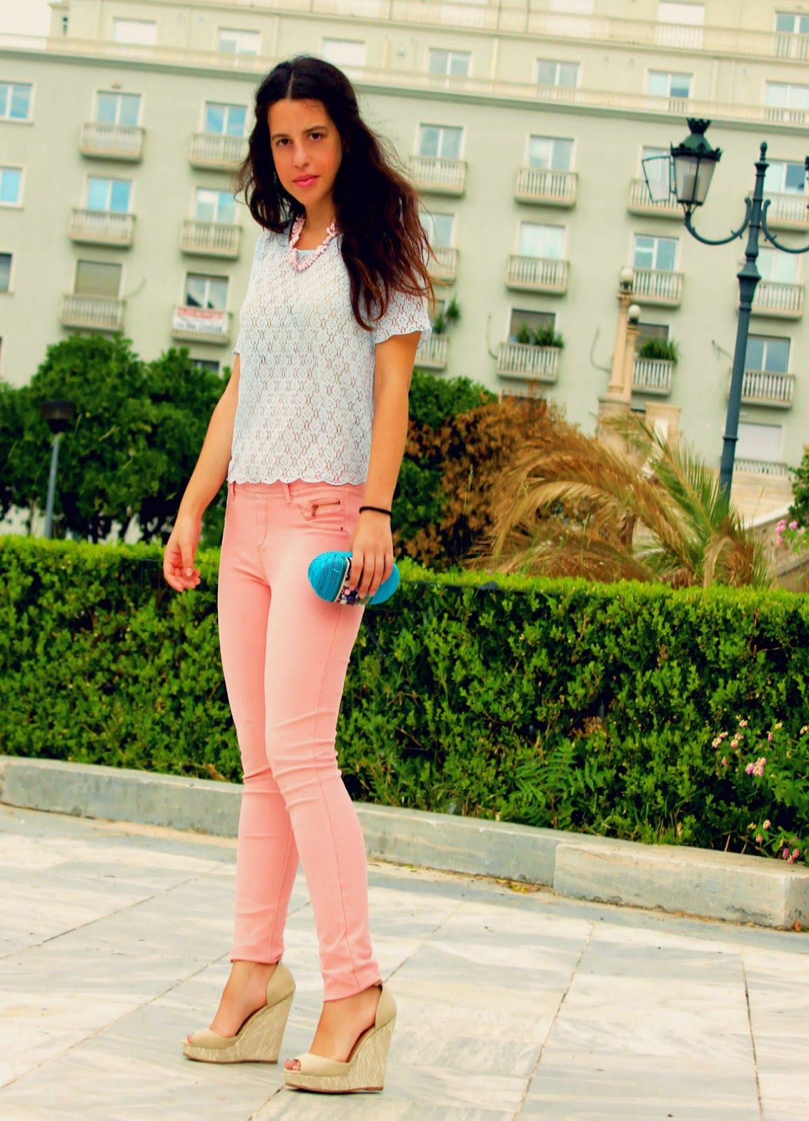 Women's White Lace Crew-neck T-shirt, Pink Skinny Jeans ...