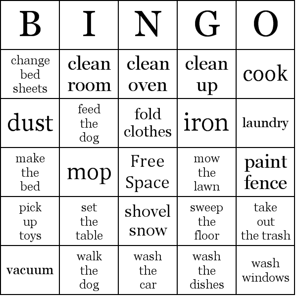 Chore Bingo Card You Can Make Your Own They Came Up With This