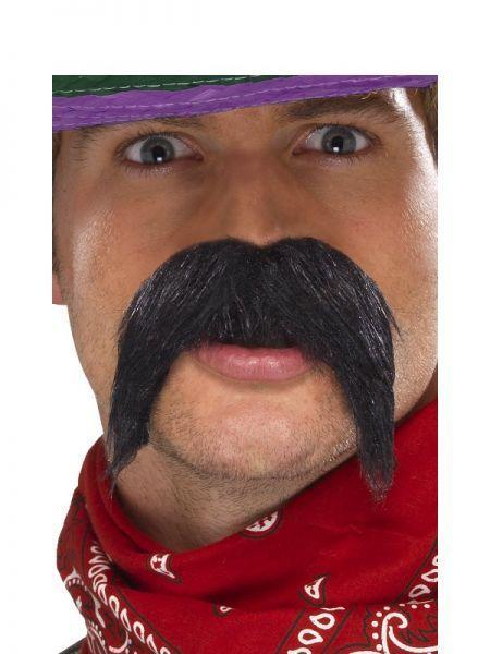70s 70/'s Fancy Dress Tash Moustache Self Adhesive Cowboy Mexican Black New