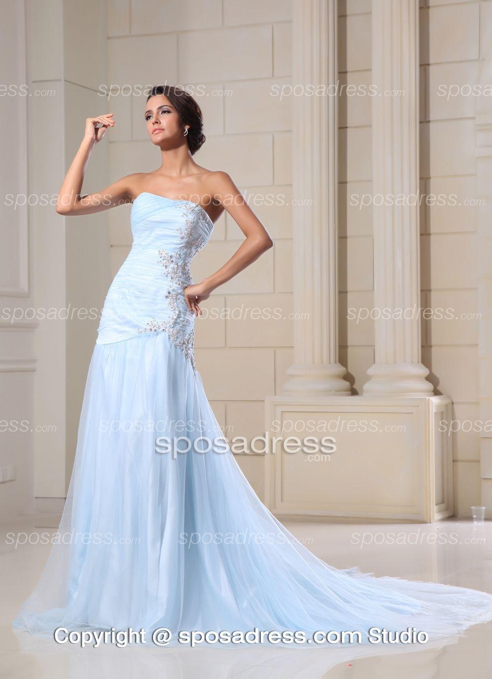 Slightly Long Light Blue Wedding Dress