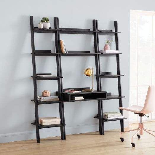Modern Leaning Wall Desk 2 Narrow Bookshelves Set Narrow Bookshelf Wall Desk Wide Bookshelf