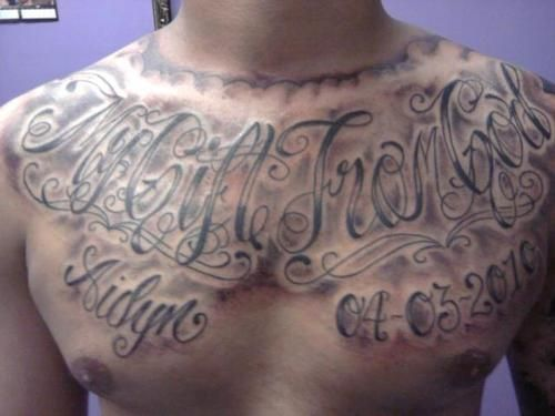 Chest Tattoo Crazy Chest Lettering Tattoo Crazy Lettering Chest Tattoo Tattoo Lettering Chest Piece Tattoos Chest Tattoo Lettering