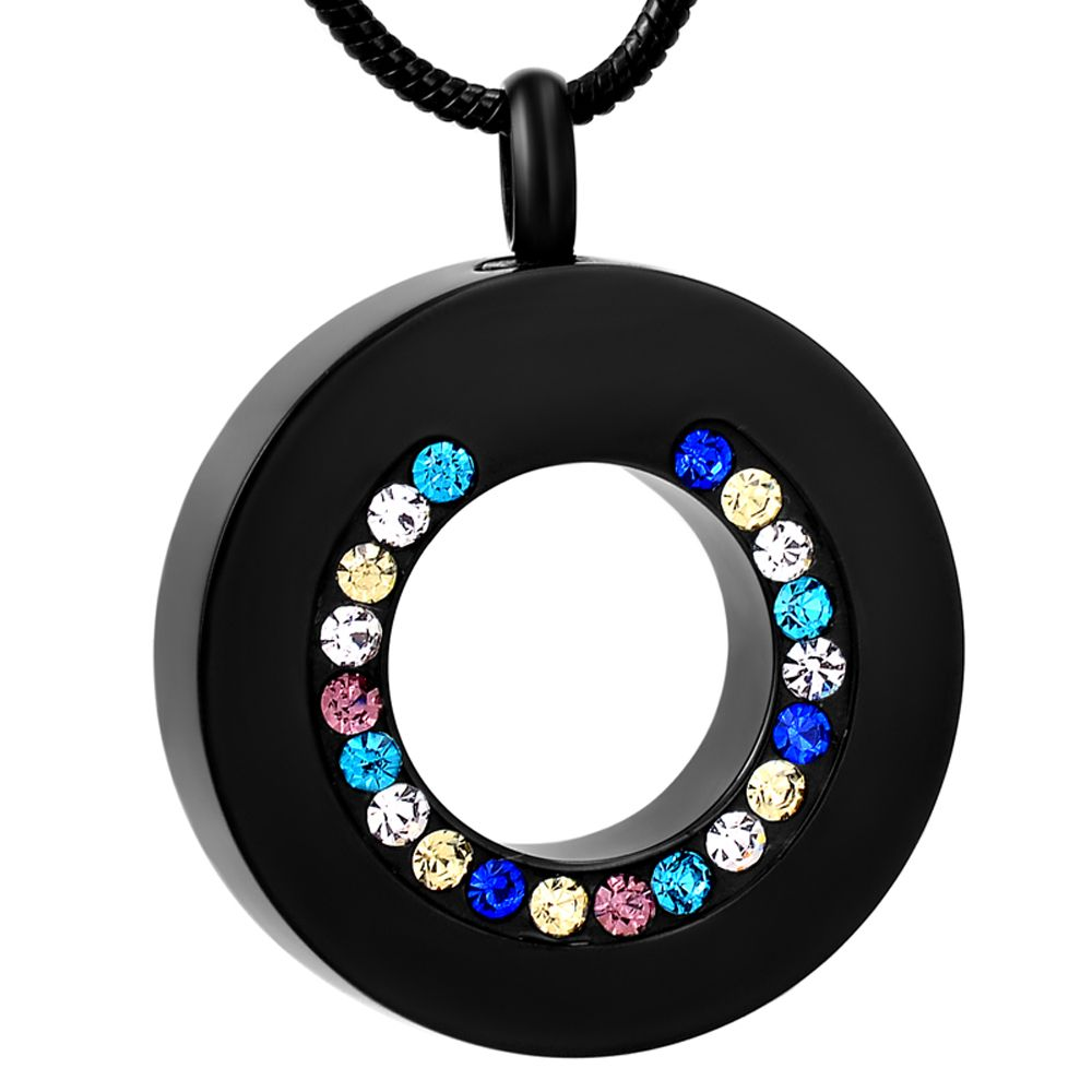 Rainbow Circle of Life Cremation Urn Stainless Steel Fashion Pendant Necklace