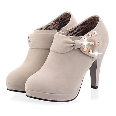 Women's Shoes Fashion Boots Stiletto Heel Ankle Boots with Bowknot - USD $  29.99