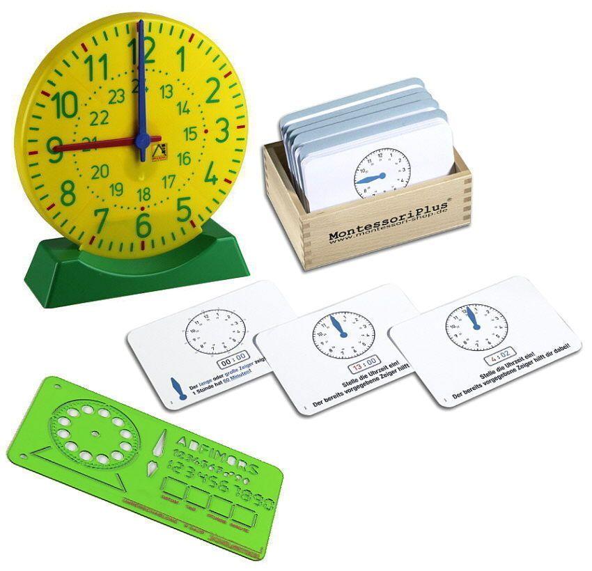 Uhrzeit lernen, Montessori Material, mit Lernuhr, Schablone & 110 Aufgabenkarten in Spielzeug, Lernspielzeug, Montessori | eBay