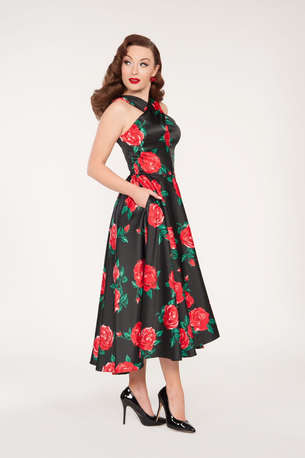 Mia Vintage Dress in Black with Red Rose Satin | Finders Keepers ...