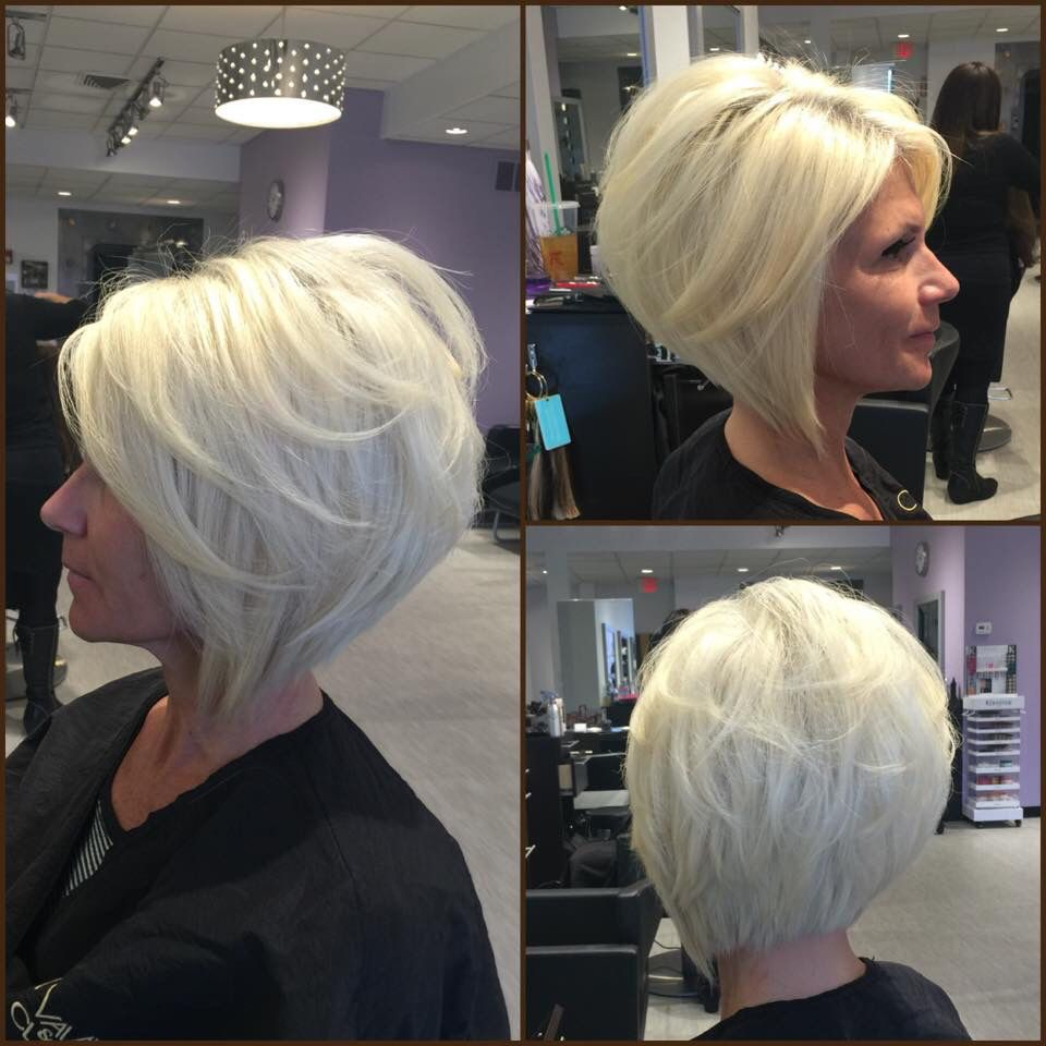 Layered angled bob by gia platinum blonde by adelleandrade