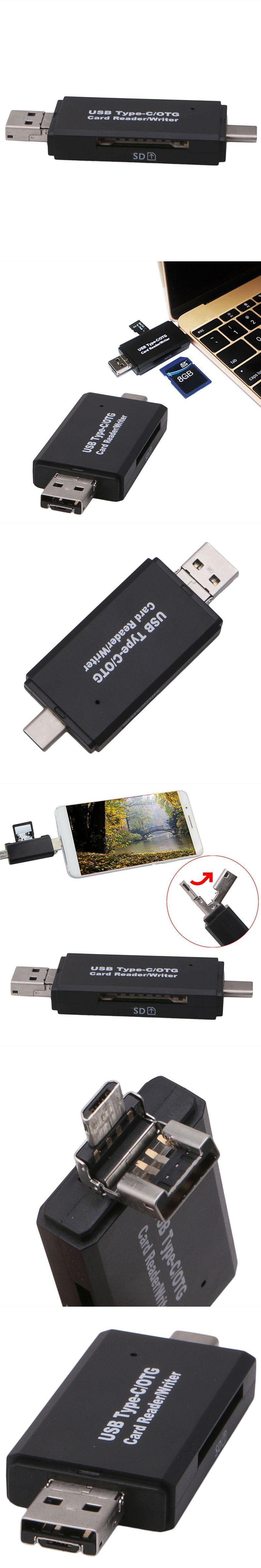 OOTDTY Multi Function Card Reader USB C Type C USB Micro USB