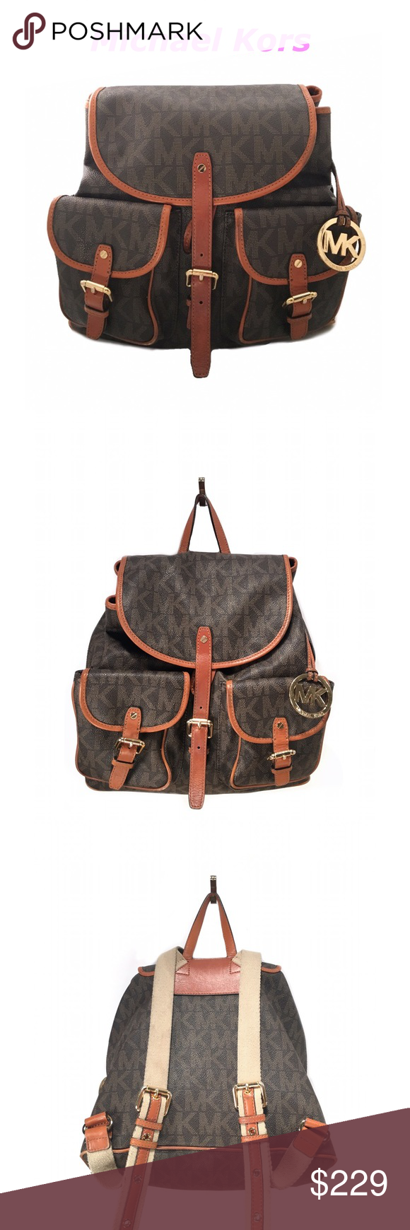 Michael Kors Monogram Leather Backpack ️100 Authentic