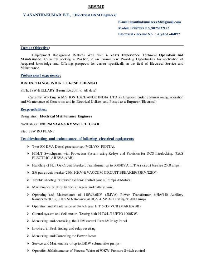Electrical C License 3 Resume Format Engineering Resume
