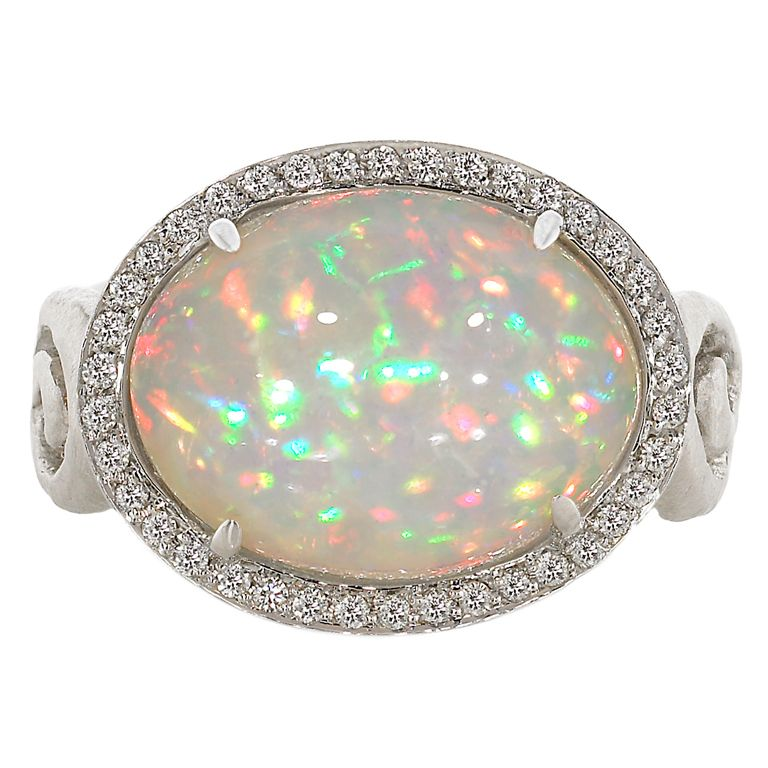 PAMELA FROMAN 18k White Gold. White Opal And Diamond Fire and Ice Ring  -  American  c. 21st Century