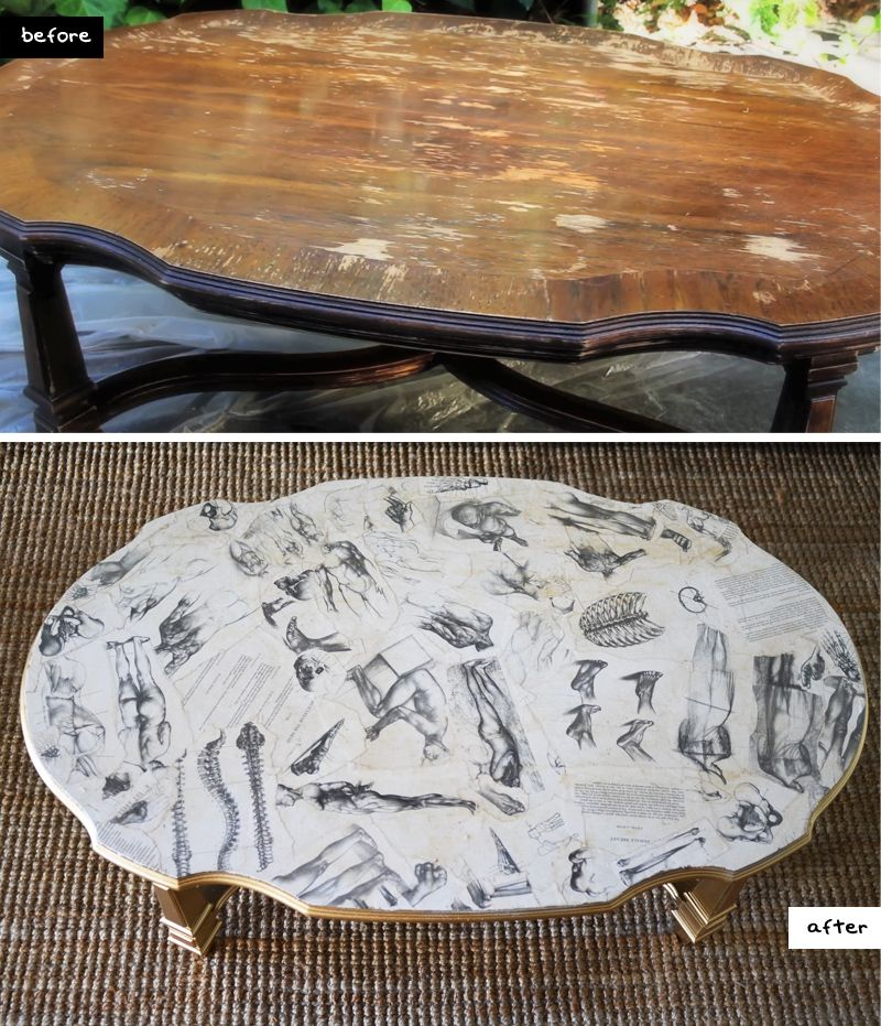 DIY home art book decoupaged coffee table