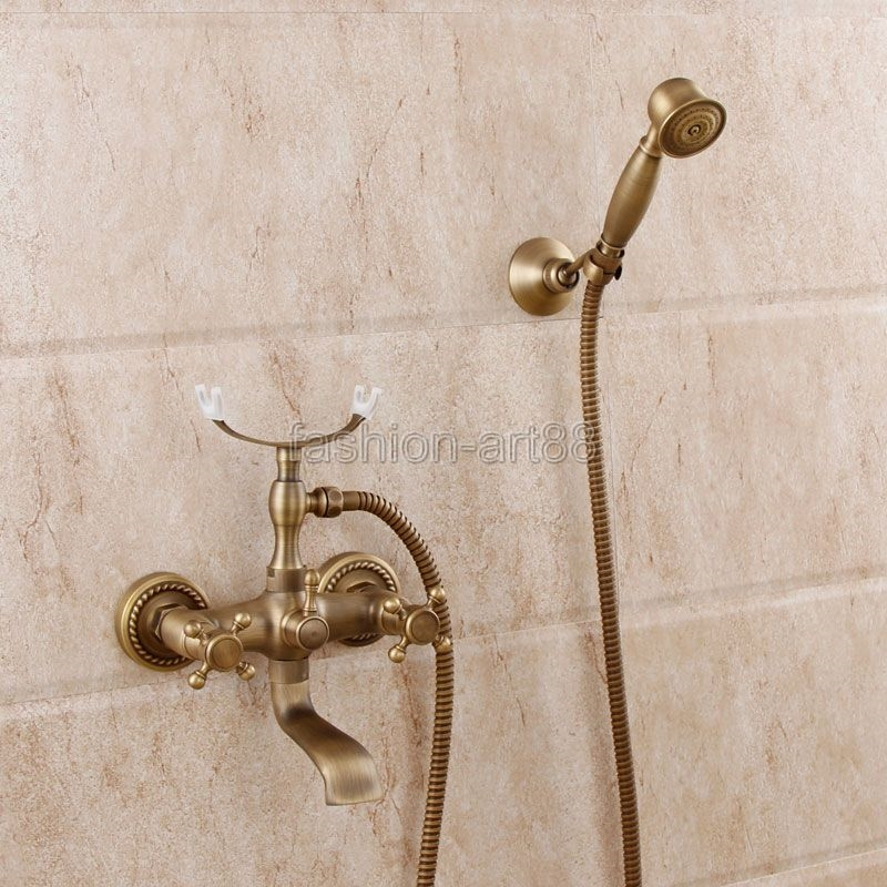 wall mount clawfoot tub faucet handheld shower. Antique Brass Wall Mounted Clawfoot Bath Tub Faucet Tap with Handshower 97 49  Watch here http ali0dn worldwells pw go php t