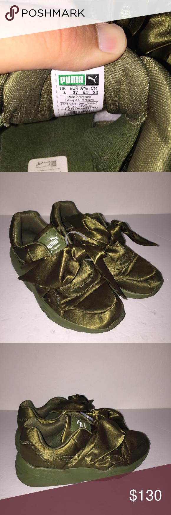 Puma Fenty Rihanna Olive Bow Trainer Sneaker 6.5 Gently worn before no box   abc1b70e6