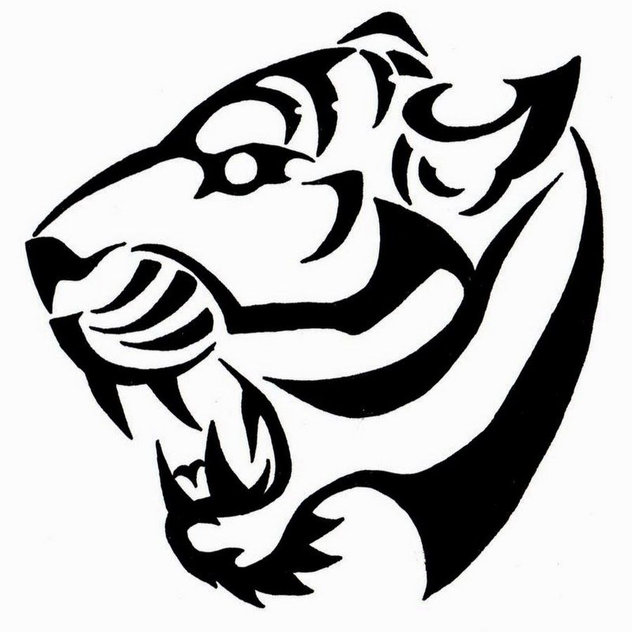 Very Nice Roaring Tribal Tiger Head Tattoo Design Art Tribal