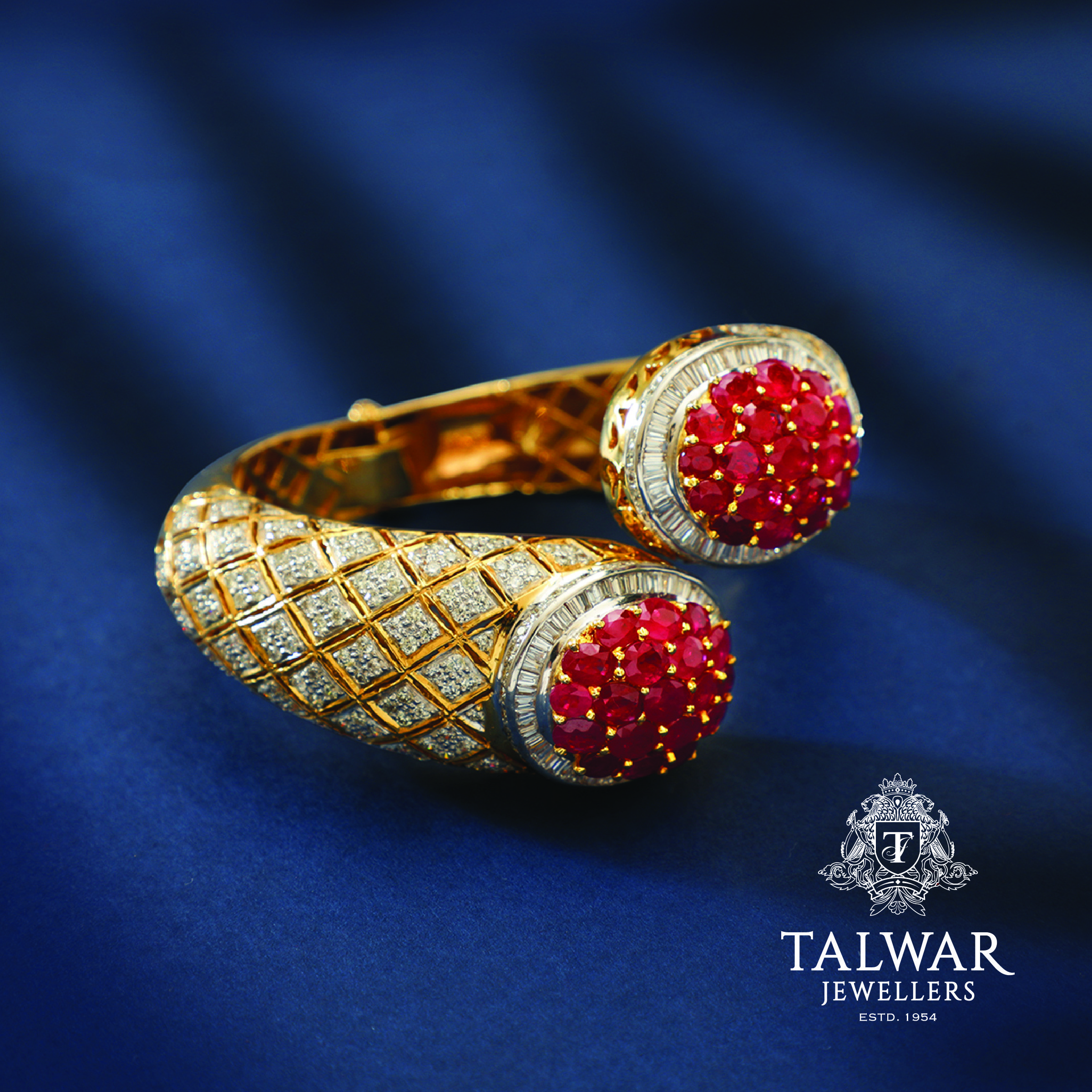 Beautiful Bangle set in Diamonds Gold and Rubies Talwar