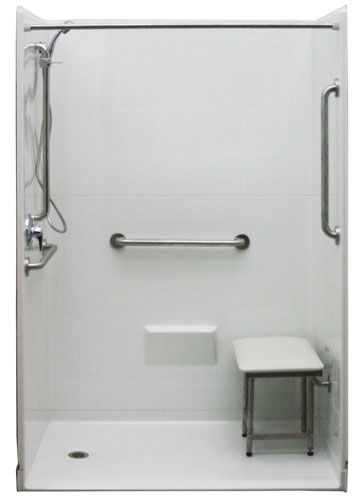 shower bench and a hand held shower with slide bar