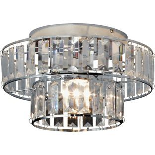 Inspire Shine 2 Tier Crystal Effect Rods Ceiling Light From