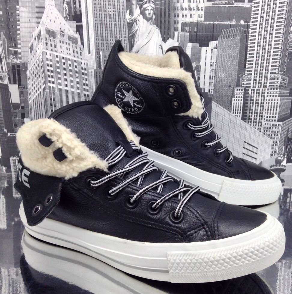 Converse All Star Mid High Top Womens Leather Boot Sz 3.5 PC2 Black Boys Girl 36 #Converse #HiTopTrainerBoots