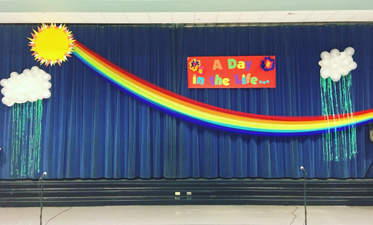 1st Grade Program Stage Decorations Tulle Rainbow