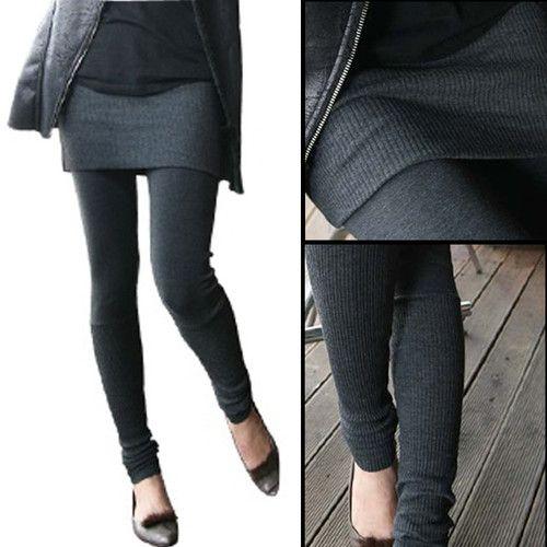 Knitted Skirt With Leggings Women Winter Knit Leggings And Skirt Korean Fashion Textured Leggings Fashion Women S Leggings
