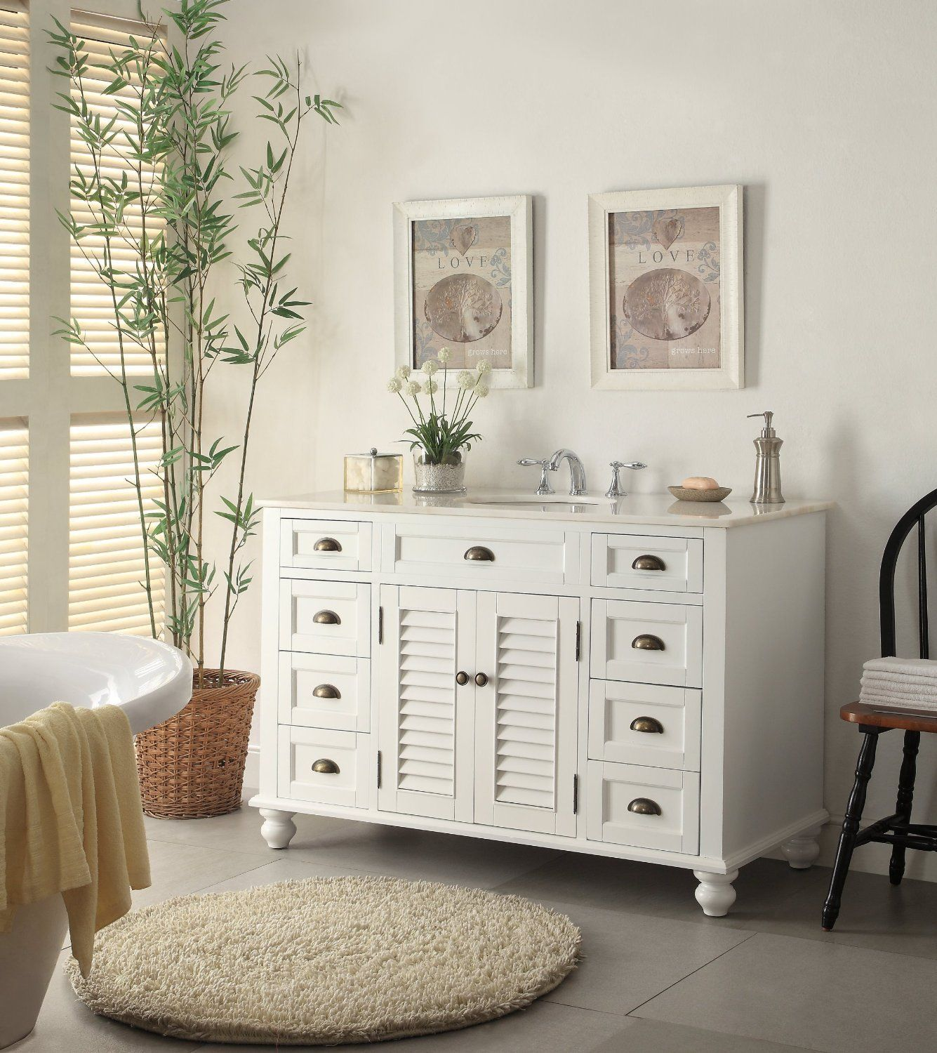 shabby chic small white bathroom vanities Google Search