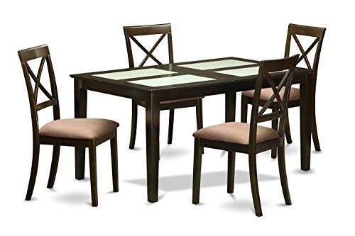 East West Furniture CABO5G-CAP-C 5 Piece Dining Table with Glass Top