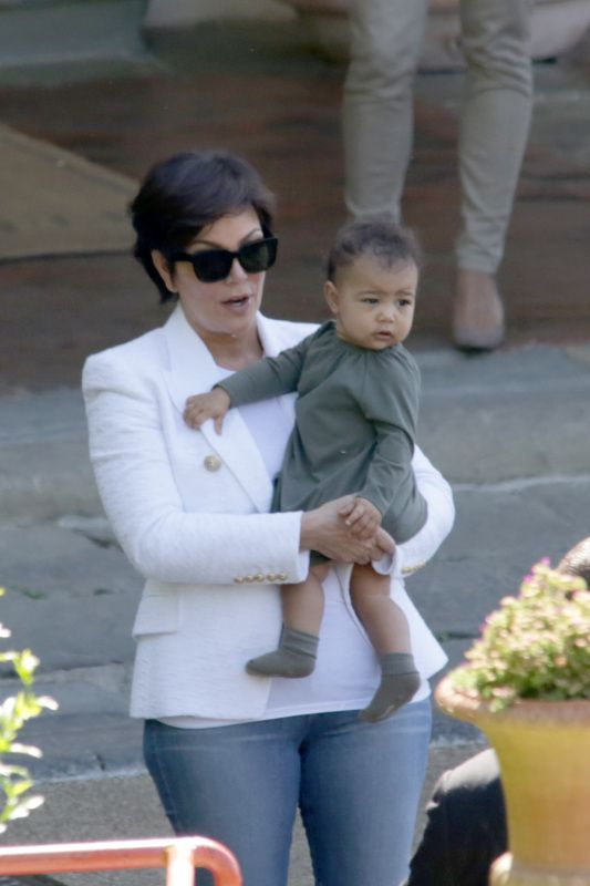 Nori kicked it with Grandma Kris in Florence, Italy during the weekend of KimYe'snuptial.