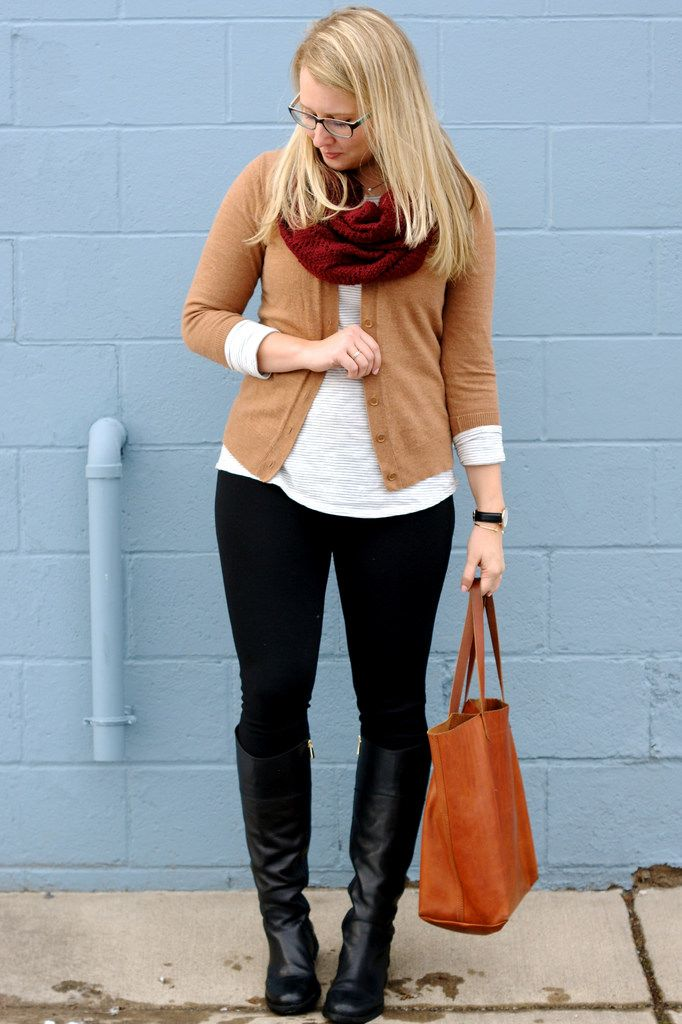 Black pants, white shirt, tan cardigan, colored scarf, black boots ...