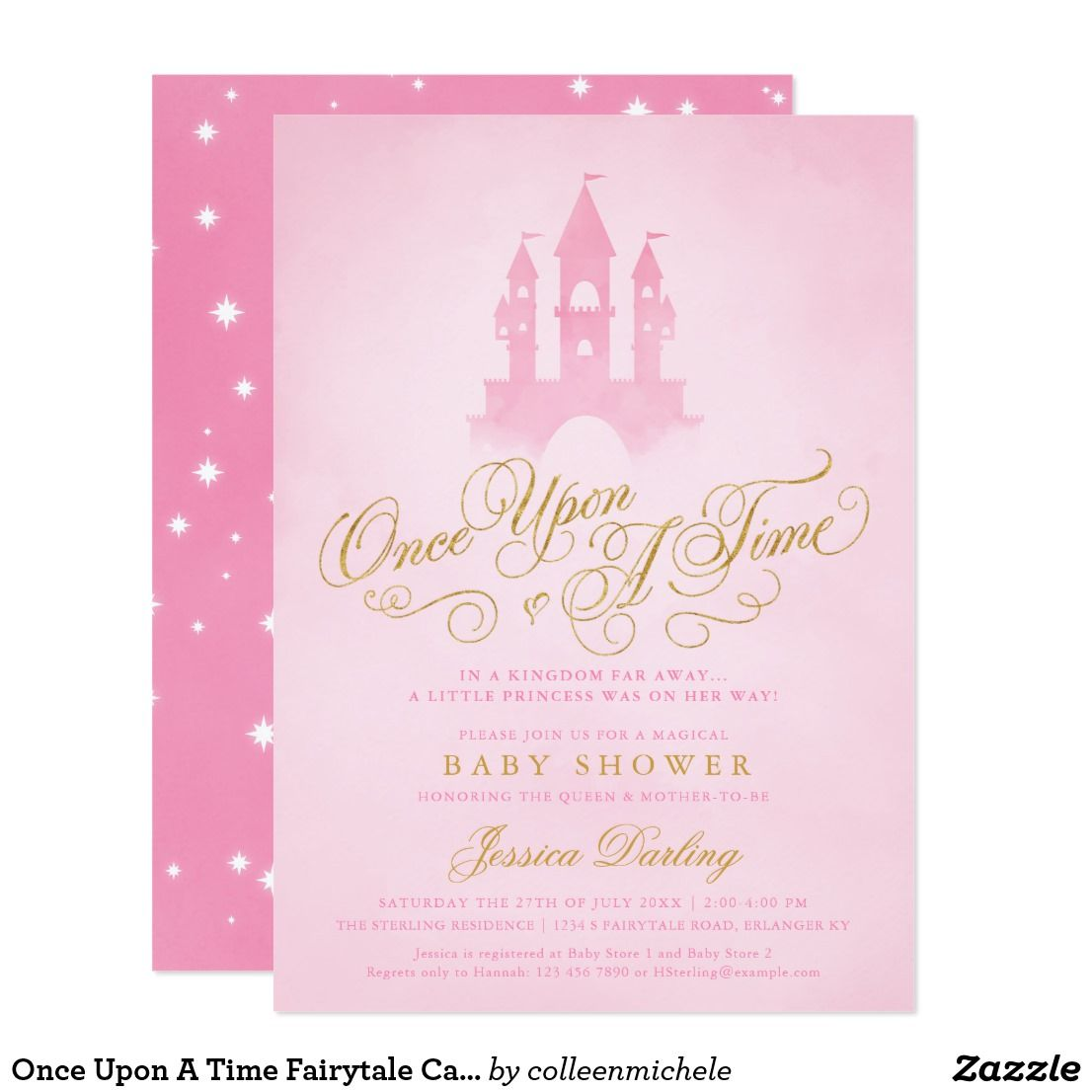 Once Upon A Time Fairytale Castle Girl Baby Shower Card Pink ...