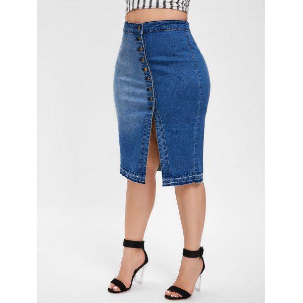 8ae4a94f0763 Plus Size Button Up Denim Sheath Skirt - Denim Blue 4x in 2019 ...