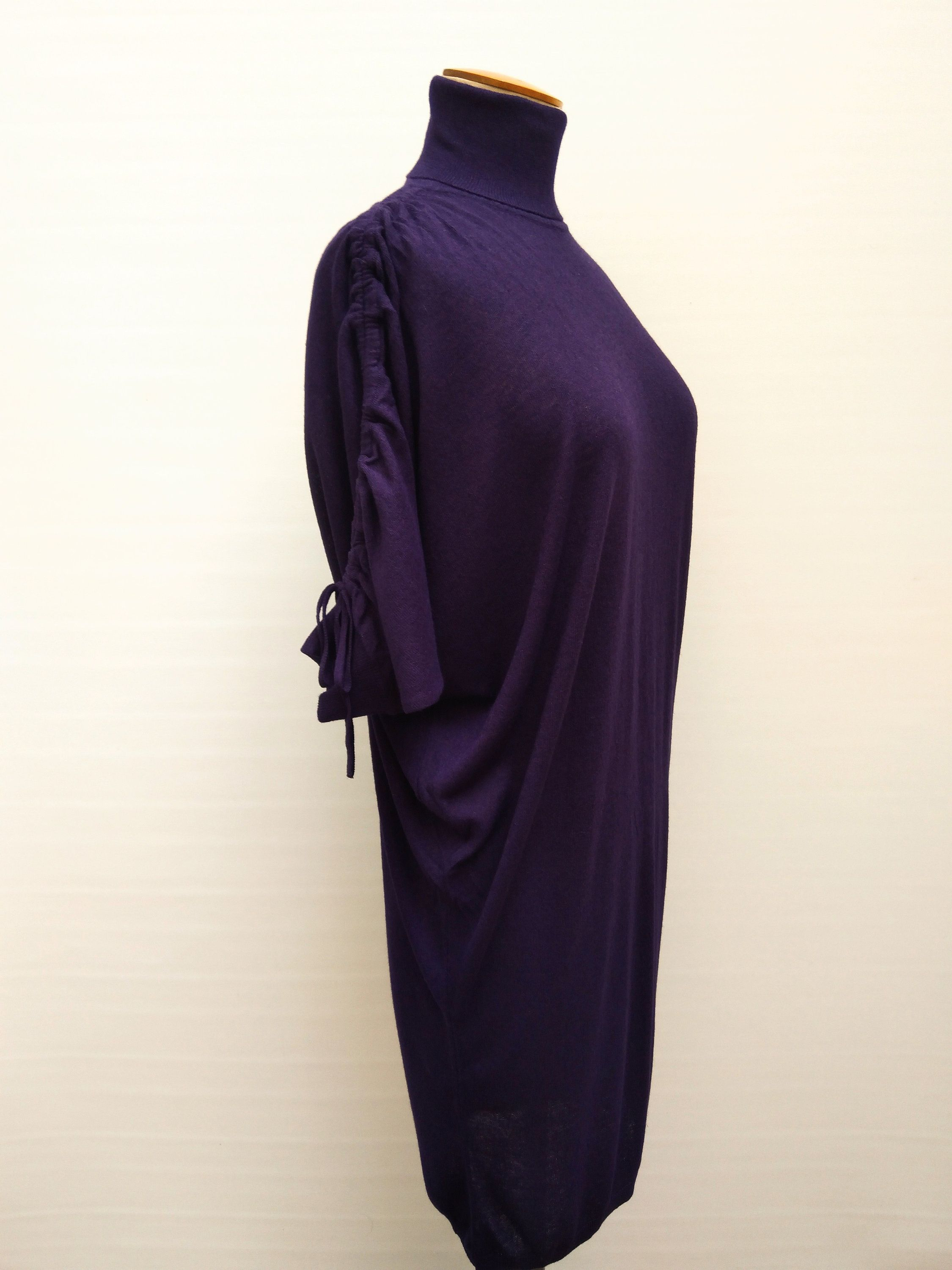 VANESSA BRUNO ATHE pre-owned purple fine knit batwing sleeve dress