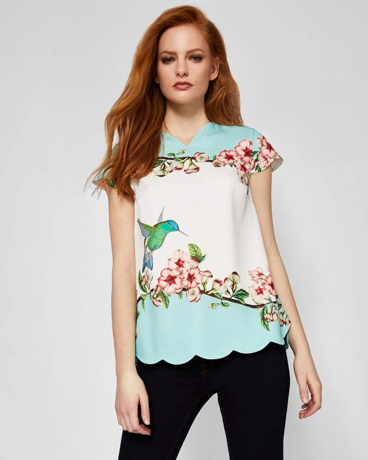 2a57a6aad3 Ted Baker ELMY Nectar scalloped V-neck top