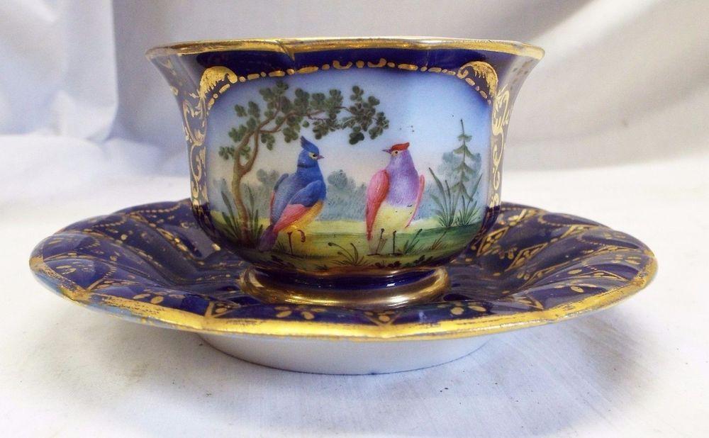 RARE Early Antique 1780s SEVRES FRANCE TEA CUP & SAUCER Birds Gold ...