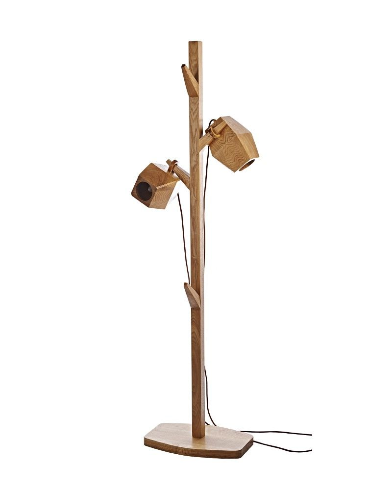 Tree Shaped Wooden Floor Lamp With Randomly Placed Shade