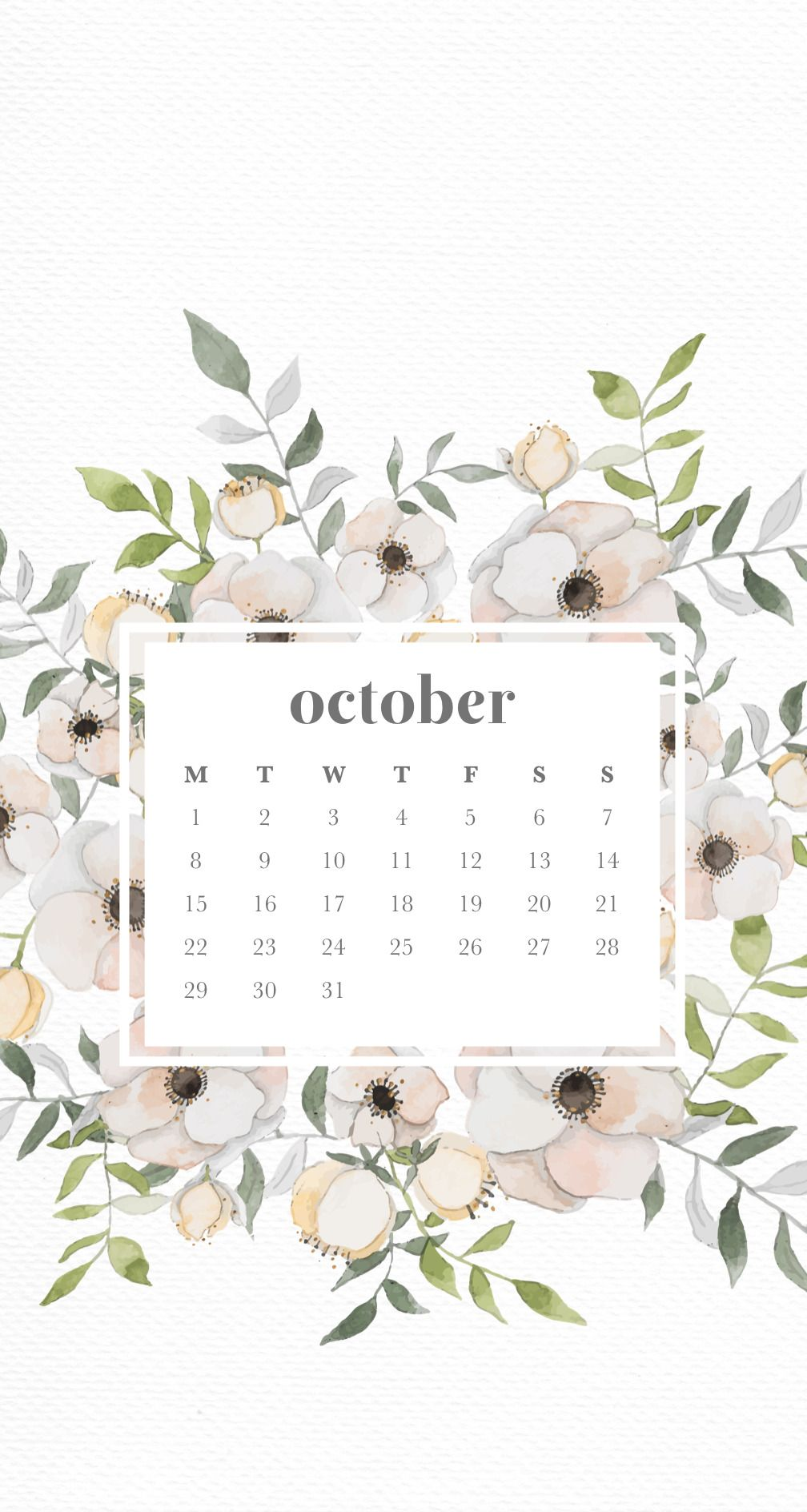 Emma S Studyblr October Floral Phone Wallpapers Here Are Three Calendar Wallpaper Iphone Backgrounds Tumblr Spring Wallpaper