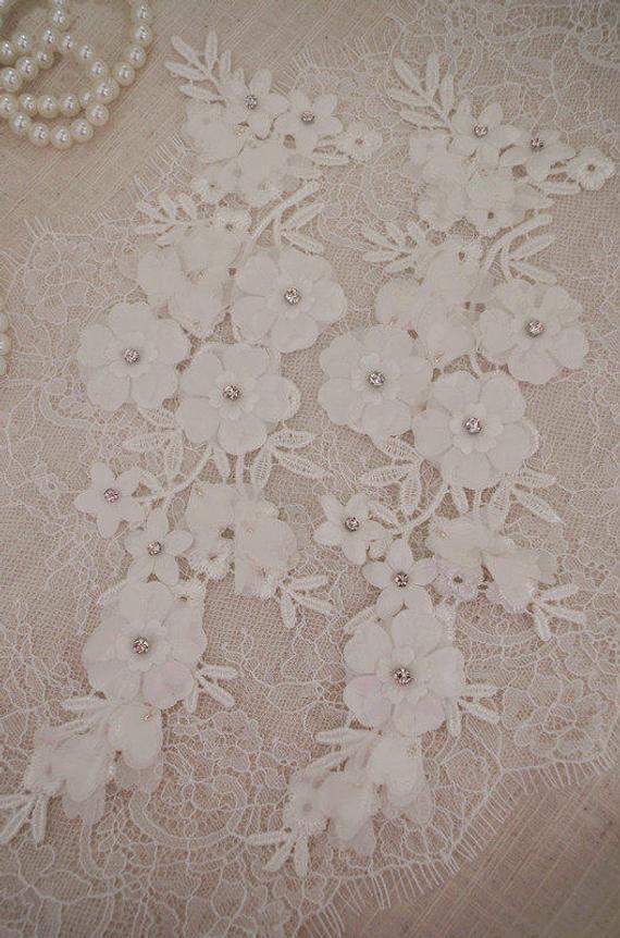 off white lace applique, 3D bead lace applique, retro flower lace applique, beading lace applique, b
