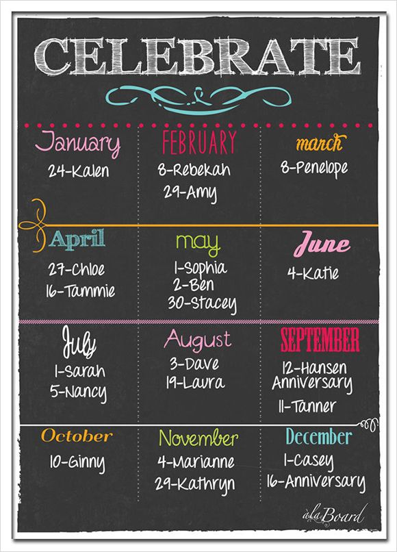 Yearly Birthday Calendar Template Family Birthday Calendar