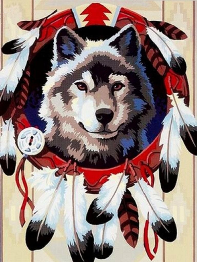 PaintingStudio Wolf with white Feather DIY oil Painting by