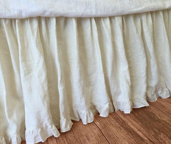 Cream dust ruffle with ruffle hem custom by CustomLinensHandmade