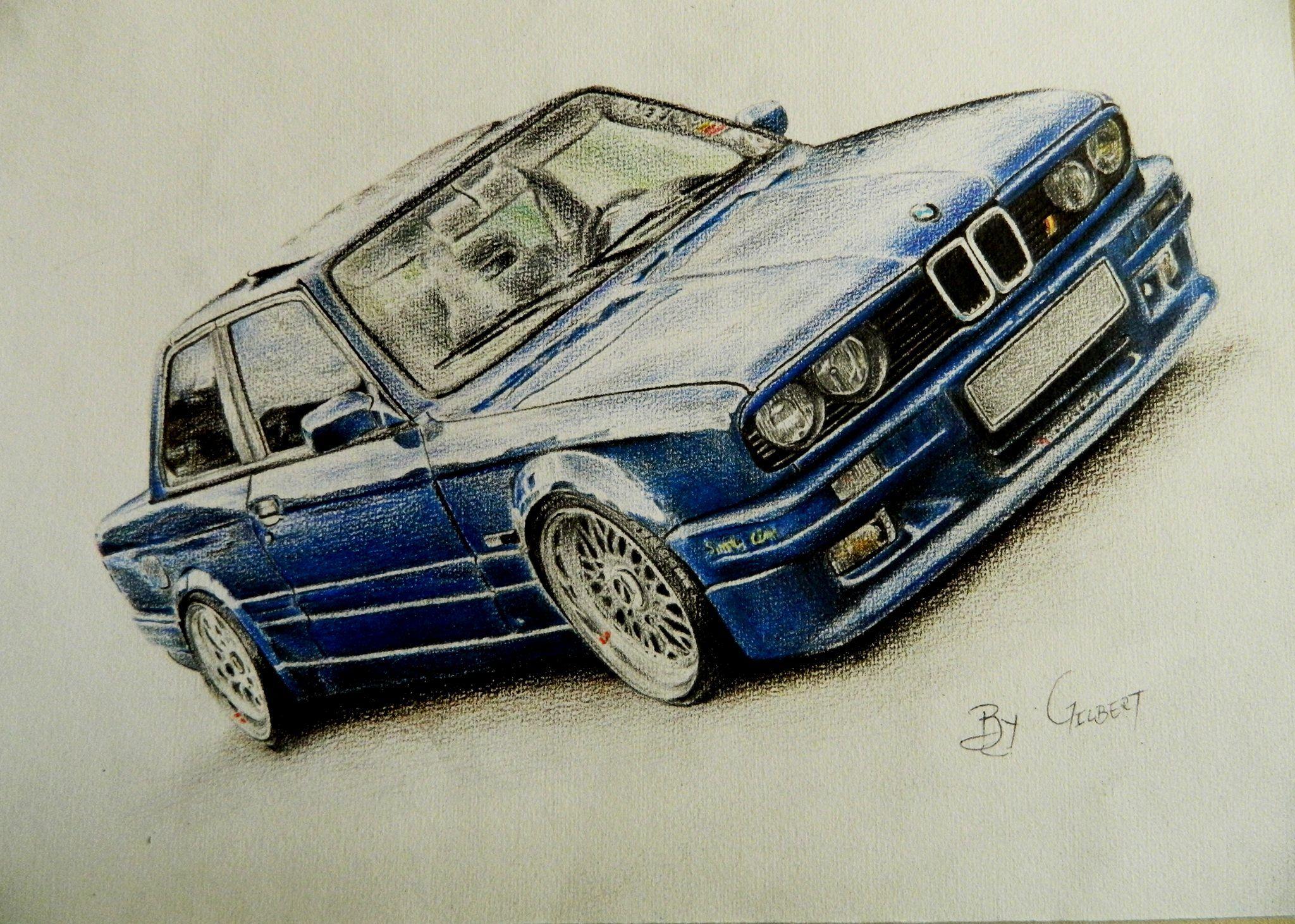 Bmw E30 Colored Pencils Drawing Art By Gilbert Maepa Car Drawings Bmw Sketch Bmw Art