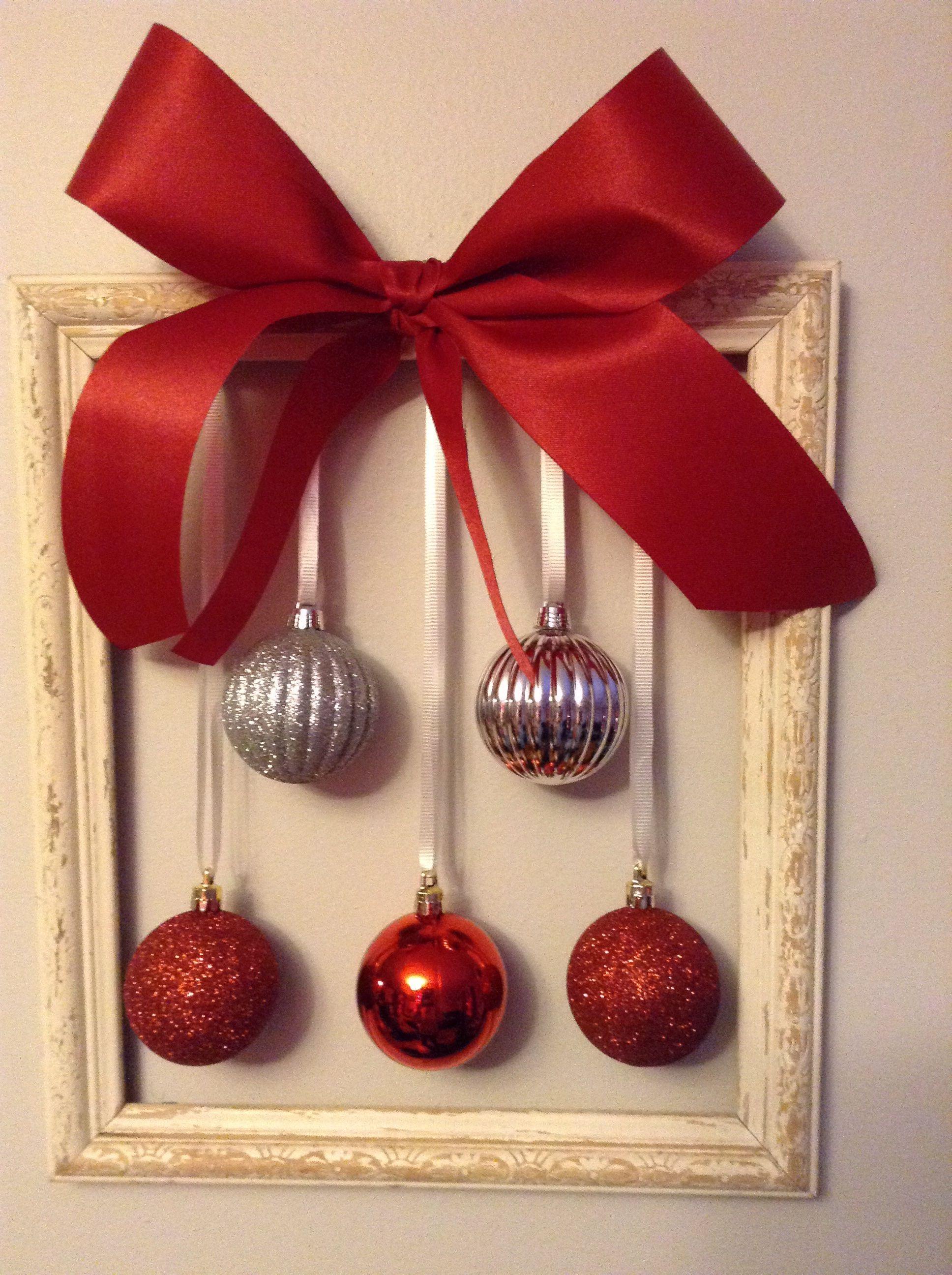 Simple Christmas Decorationold Photo Frame Ribbon Christmas