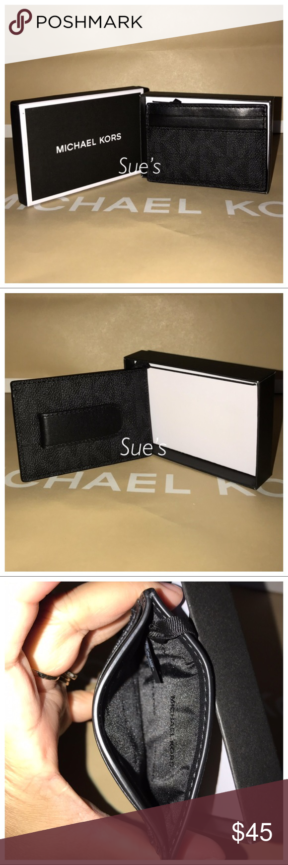 3054649c69f5 NWT MK Mens Card Case holder with money clip-Black NIB MICHAEL KORS JET SET  MENS CARD CASE MONEY CLIP MK BLACK WALLET $58 Material : Signature PVC /  Leather ...