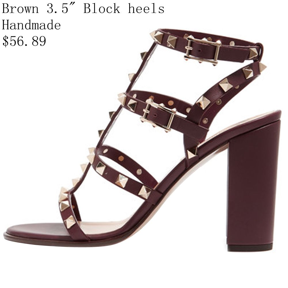 4734bde8e Comfity Sandals for Women,Rivets Studded Strappy Block Heels Slingback  Gladiator Shoes Cut Out Dress