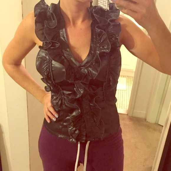 Charcoal gray ruffle top size M Button up front. Ruffle detail. 100% polyester. Stretchy. Would fit up to a DD cup. Tops