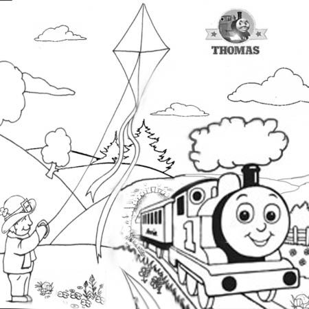 1 tomy thomas and the runaway kite steam train coloring pages clip art for little kids - Painting Sheets