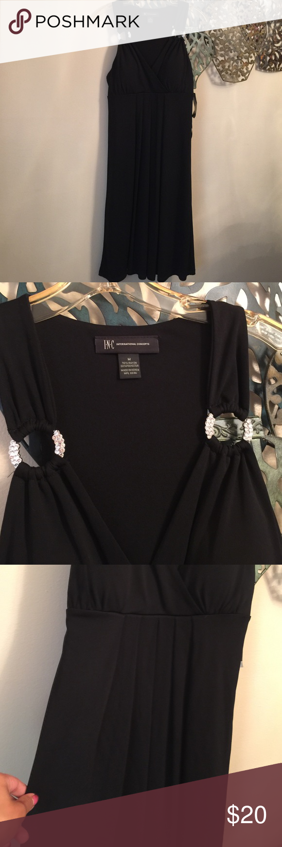 INC new black dress Beautiful padded bra v neck with two diamond rings on shoulder light pleated front retail 80$ INC International Concepts Dresses Midi