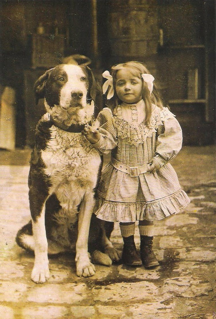 Best pals: 1920 A girl and her dog.