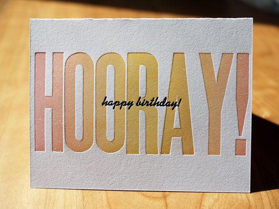 Letterpress Hooray Happy Birthday Card by CompassAndCloud, $4.00