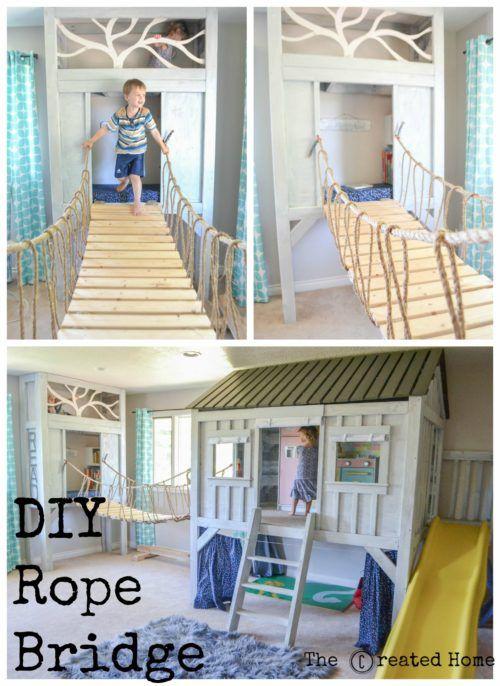 Cabin nature themed playroom rope bridge The Boys Room Pinterest